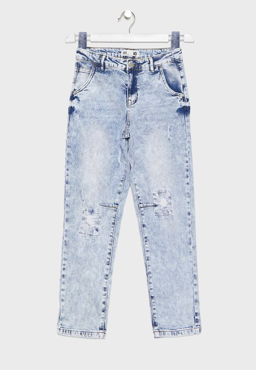 Youth Distressed Slim Fit Jeans