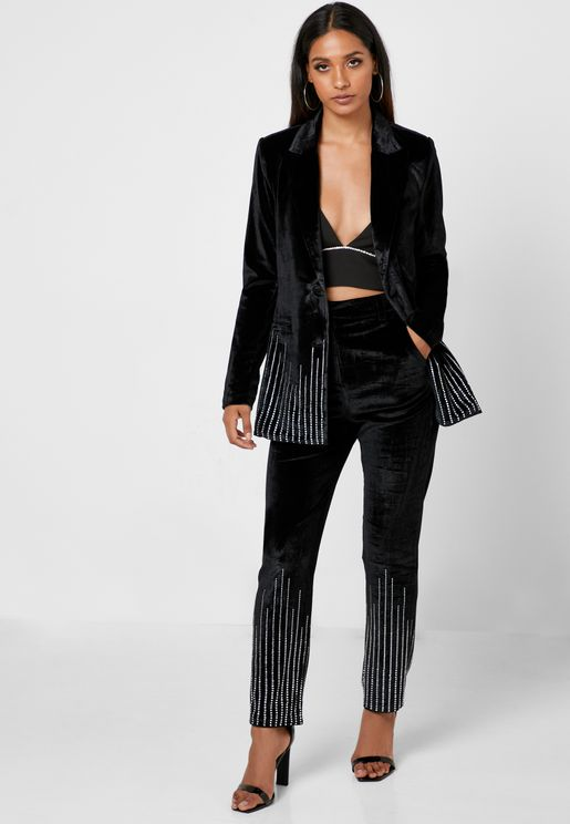 High Waist Striped Detail Pants