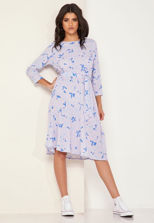 June Belted Printed Dress