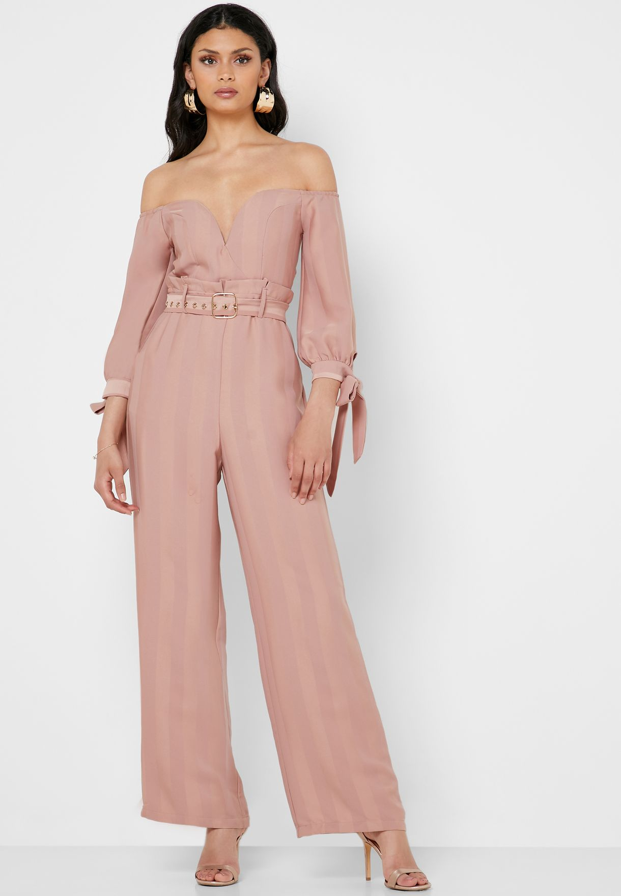 53fb5f495a0 Shop The Clothing Company pink Belted Bardot Plunge Jumpsuit LJM3007 ...
