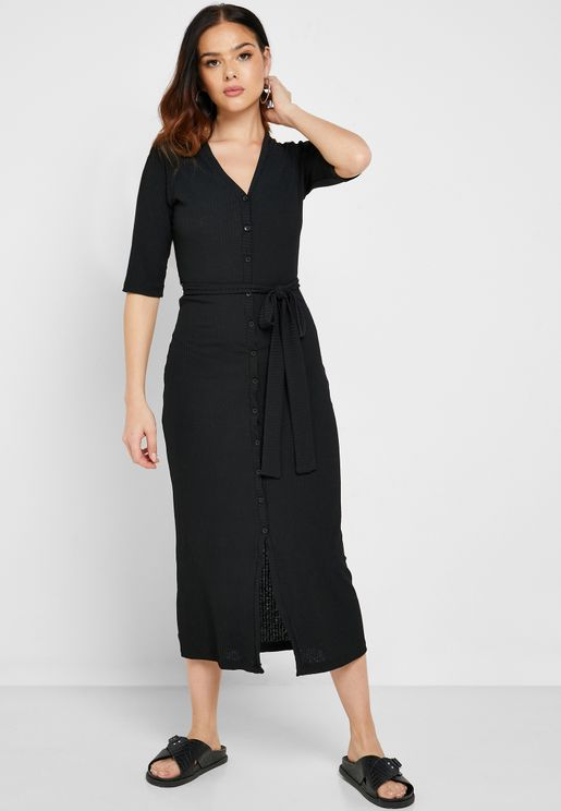 Ribbed Button Down Midi Dress