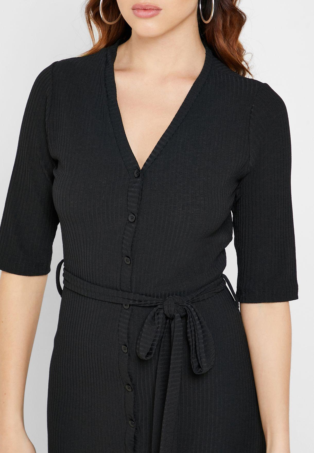 Ribbed Button Down Midi Dress