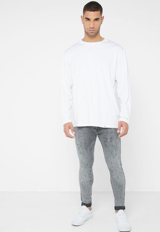 Knee Burst Twisted Skinny Fit Jeans