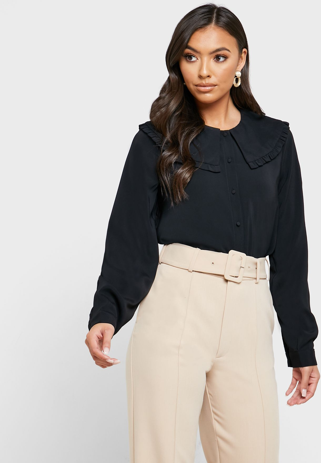 Wide Collar Button Down Top