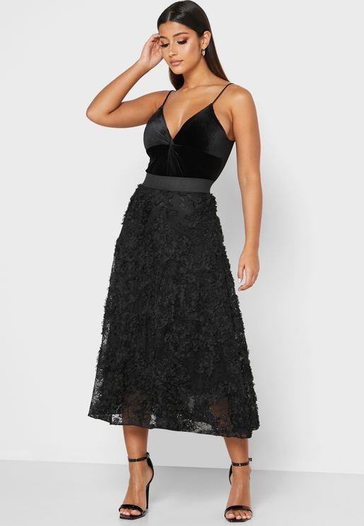 Textured Lace Midi Skirt