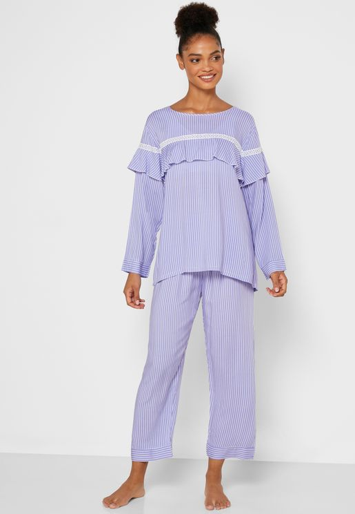 Striped Ruffle Paneled Pyjama Set
