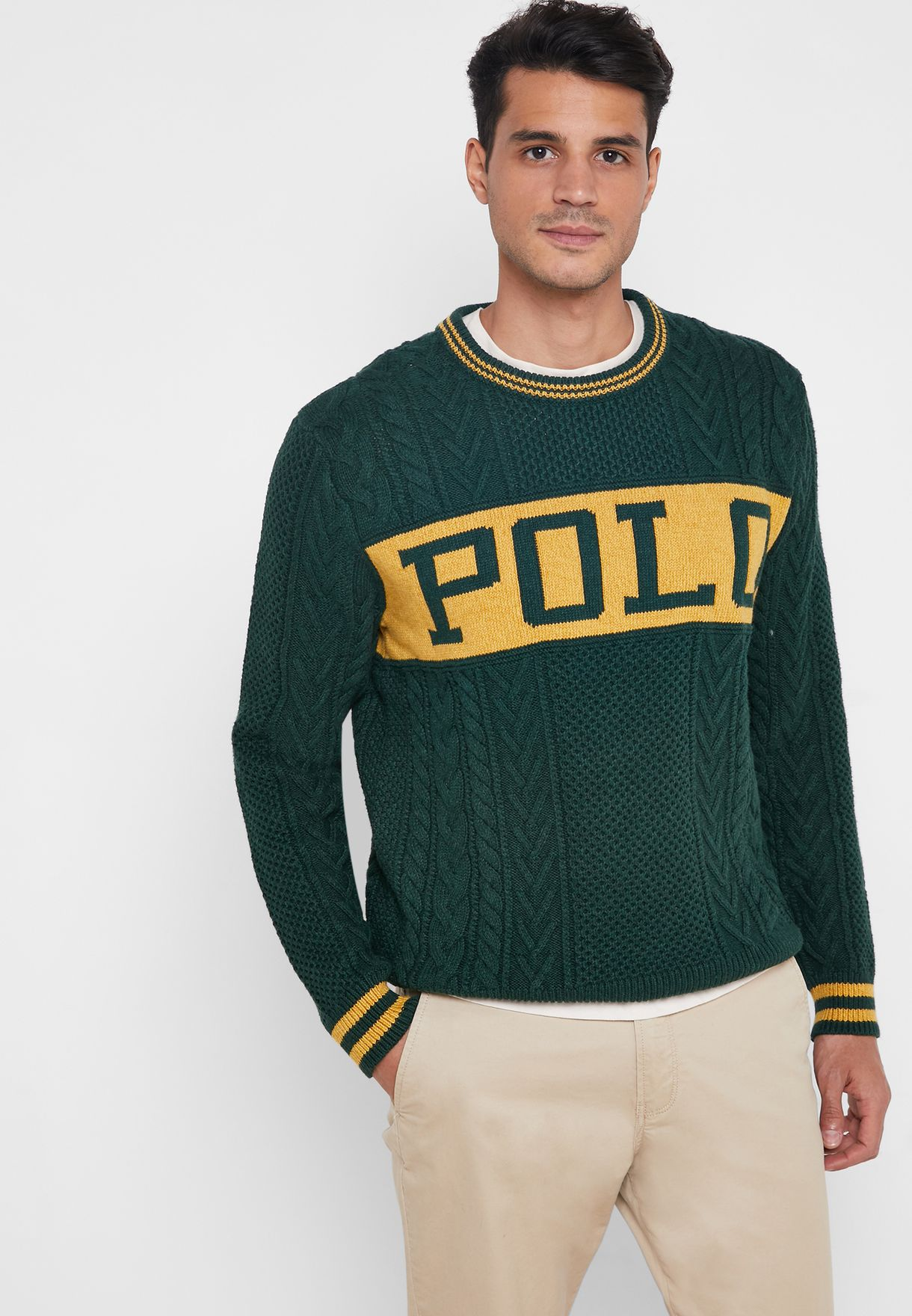 Buy Polo Ralph Lauren Green Logo Cable Knit Sweater For Men In Mena Worldwide 711000000000