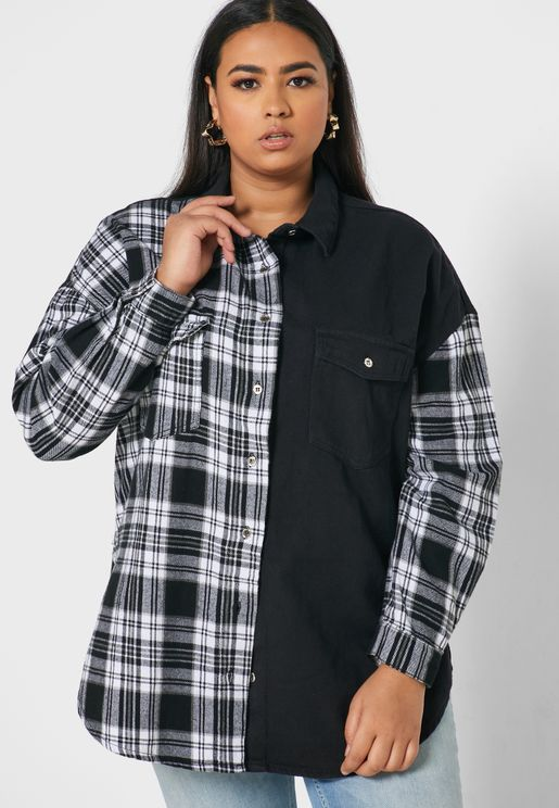 Oversized Checked Denim Shirt