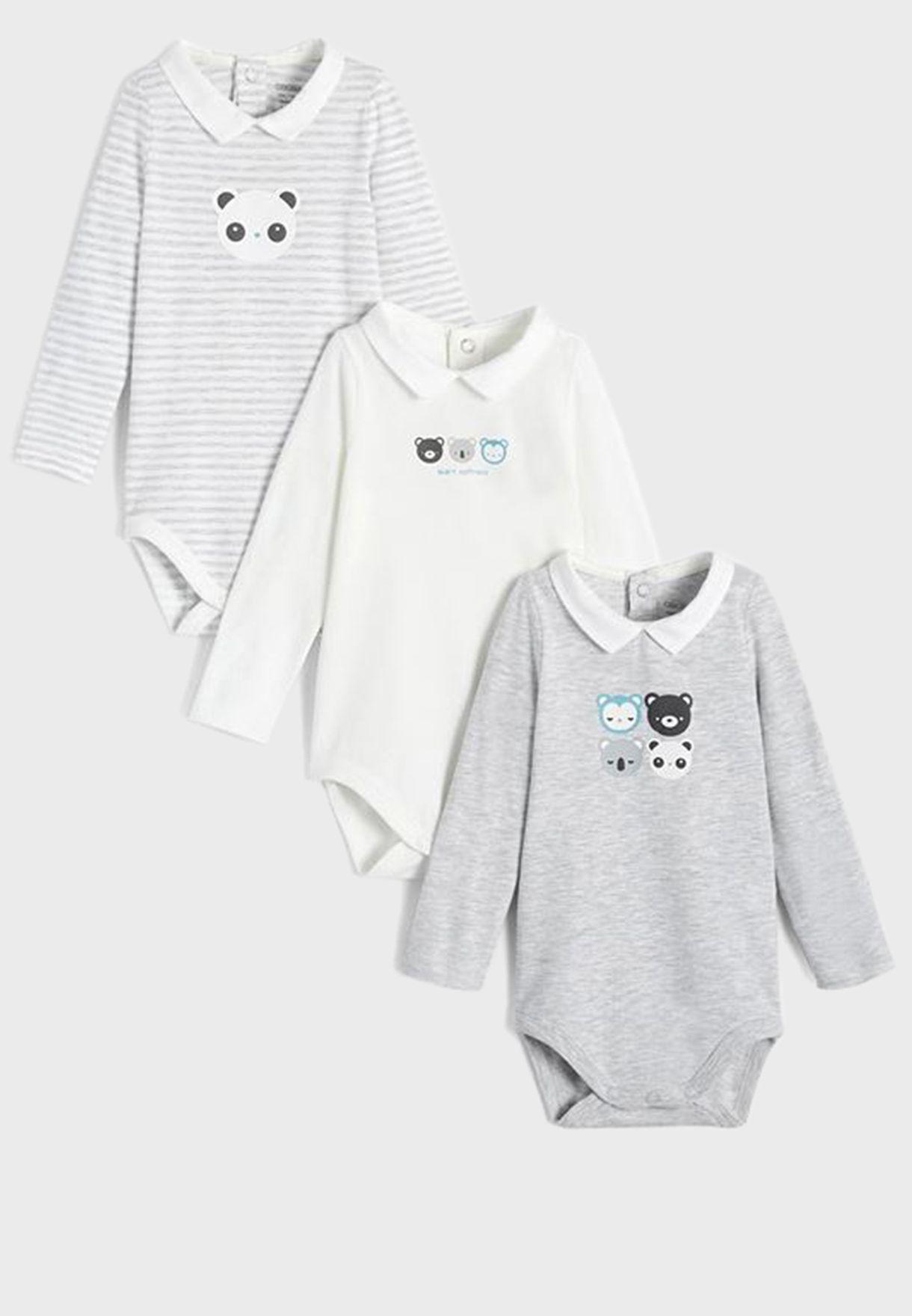 Infant 3 Pack Us Collar Bodysuit