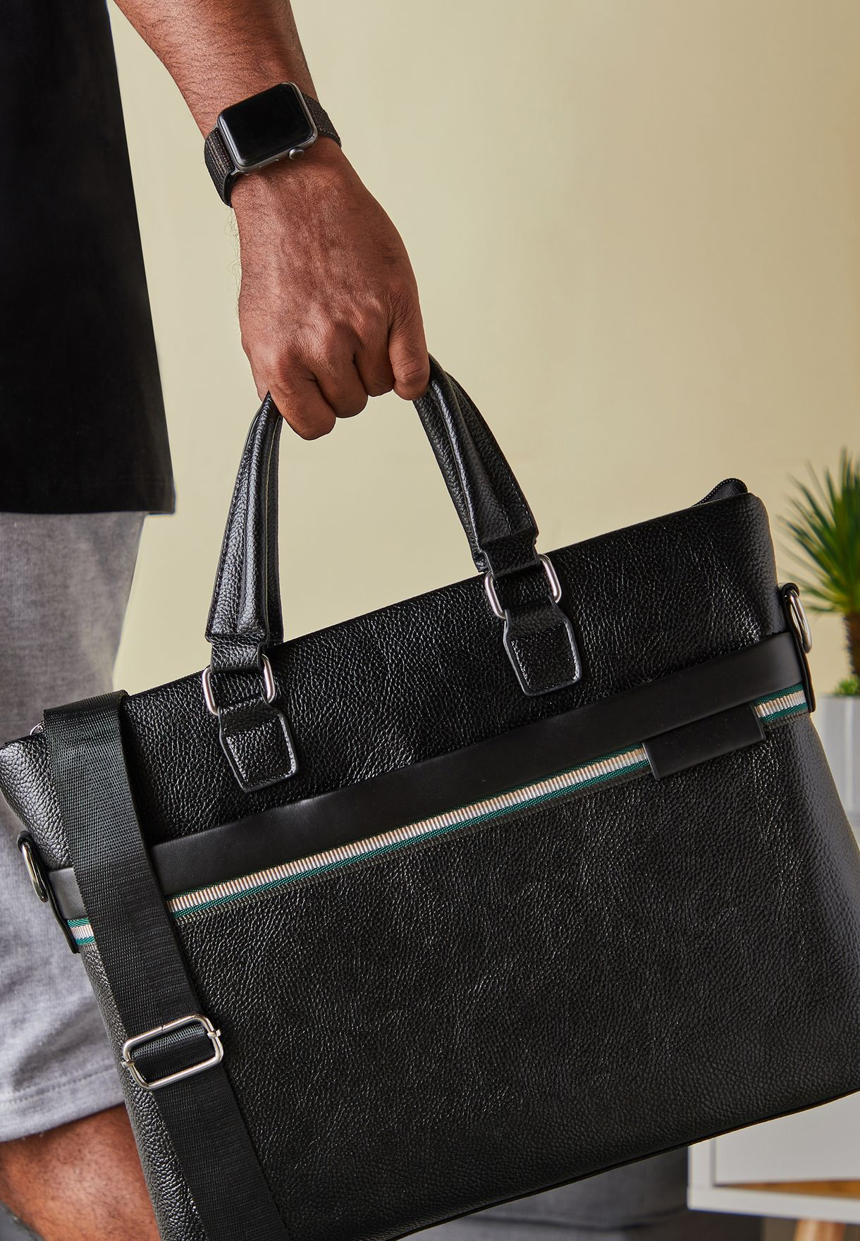 Black Faux Leather Laptop Bag