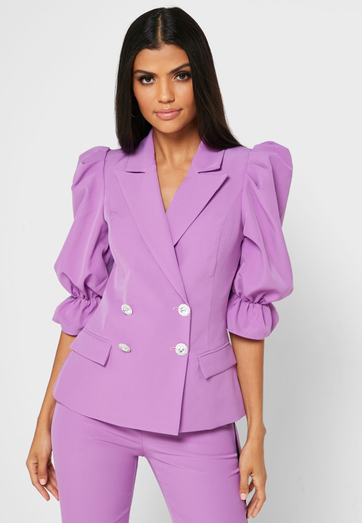 Flute Sleeve Double Breasted Blazer Dress