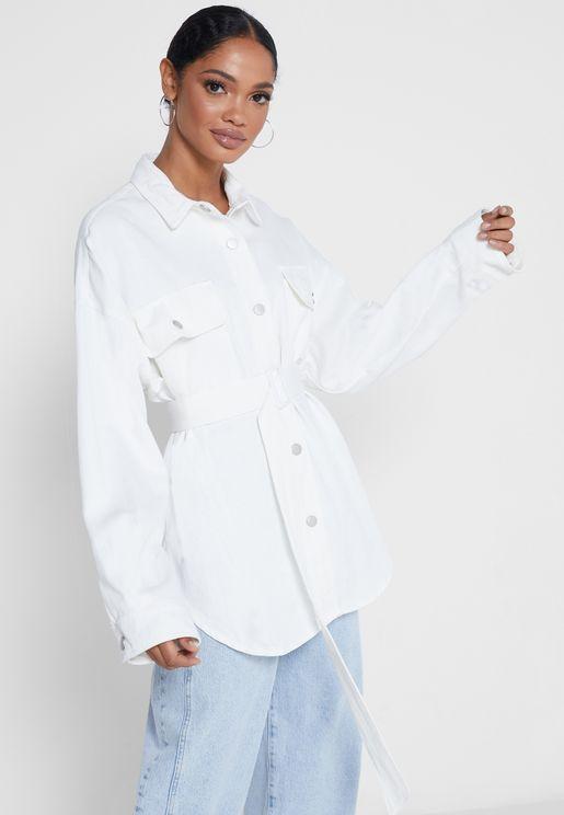 جاكيت بنمط قميص مع حزام