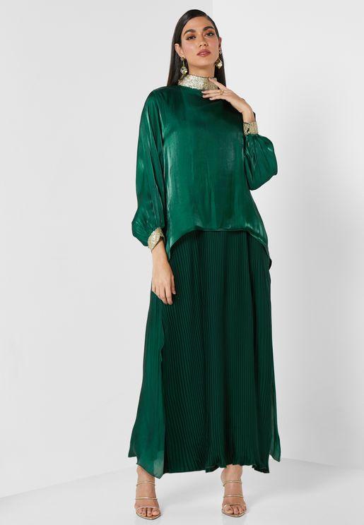 Green Envy Pleated Abaya