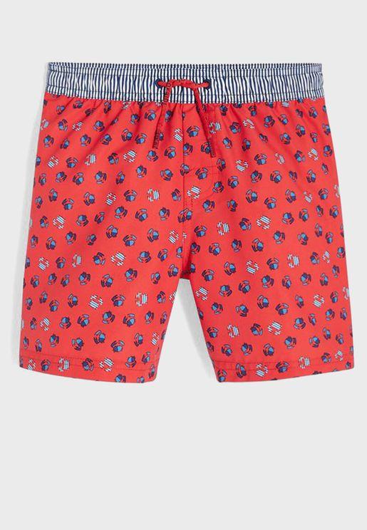 Kids Crab Print Swim Shorts