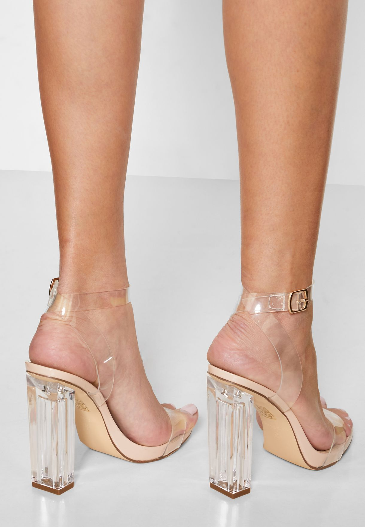 Clear Strap Perspex Heel Sandals