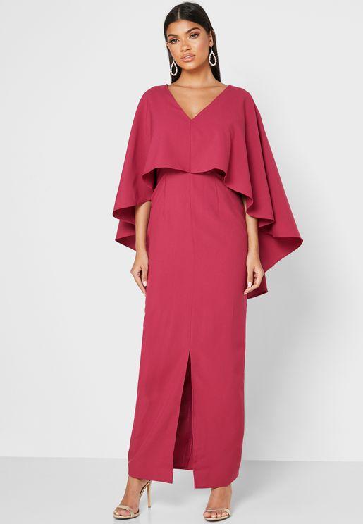 Front Split Overlay Dress