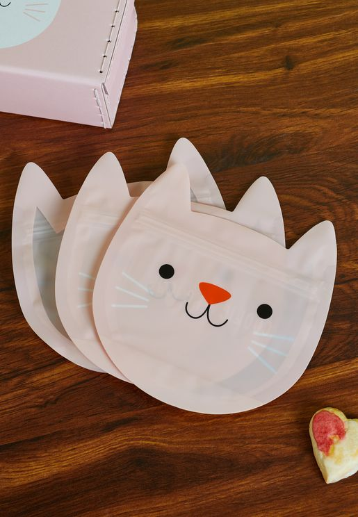 Set Of 3 Cookie The Cat Snack Bags
