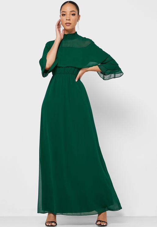 فستان ماكسي بياقة عالية