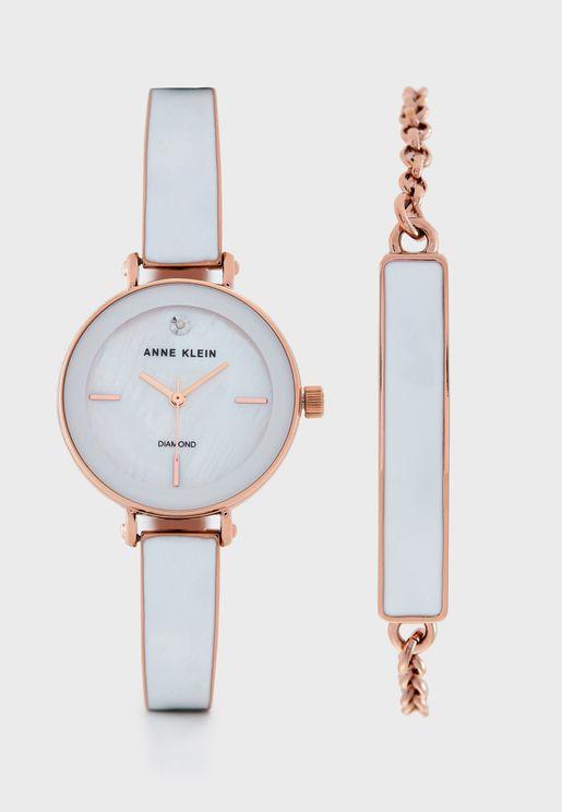 AK3620WTST Analog Watch+Bracelet Gift Set