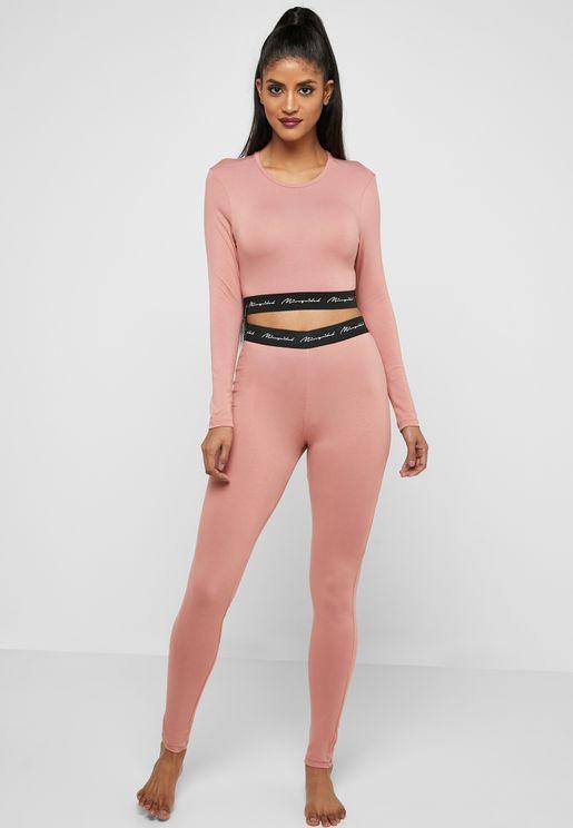 Long Sleeve Crop Top   Wide Leg Pyjama Set. Missguided 9244d6302
