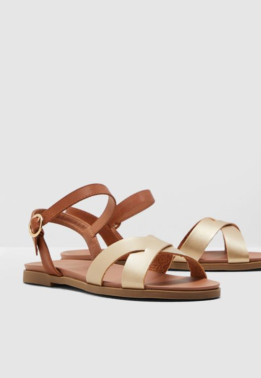 Wide Fit Goody Flat Sandal - Gold