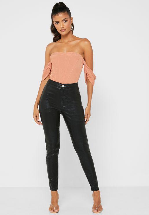 جينز جلد صناعي بخصر عالي