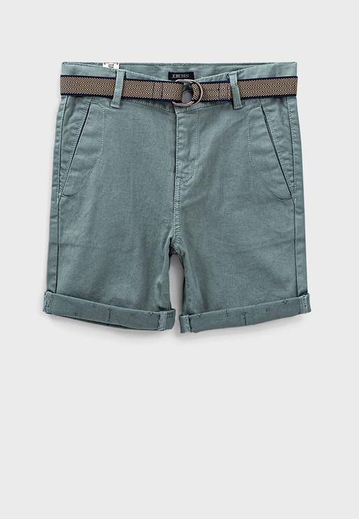 Kids Casual Denim Shorts With Belt