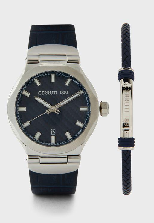 Steel Strap Analog Watch+Bracelet Set