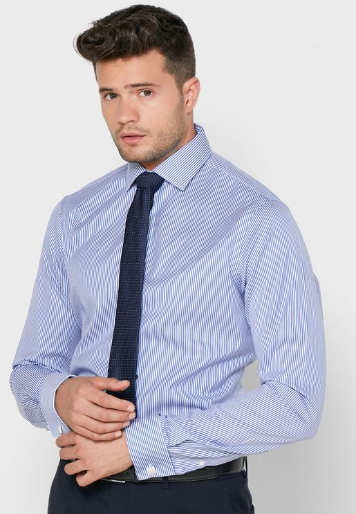 Striped Double Cuff Slim Fit Shirt