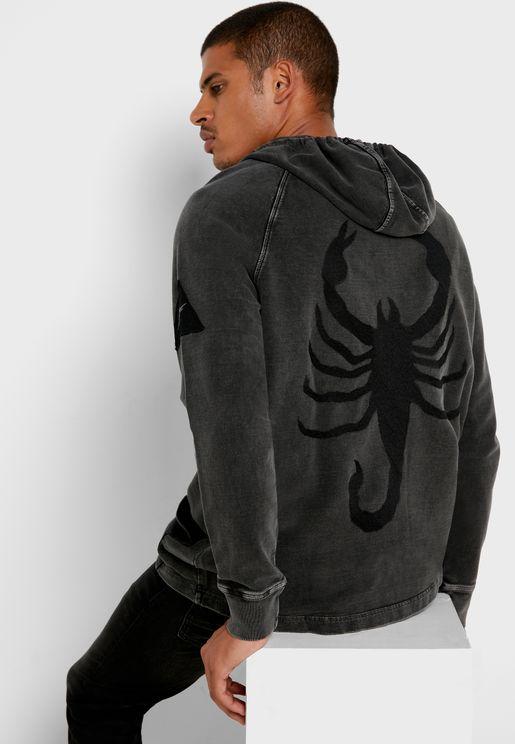 Scorpion Zip Through Hoodie