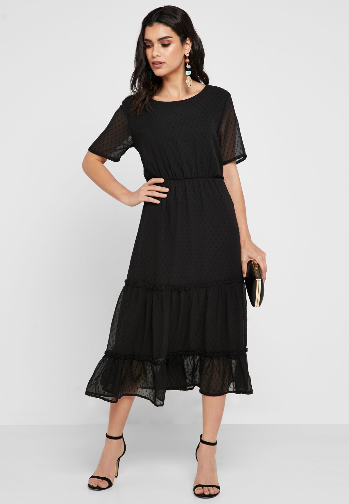 Mesh Overlay Tiered Dress