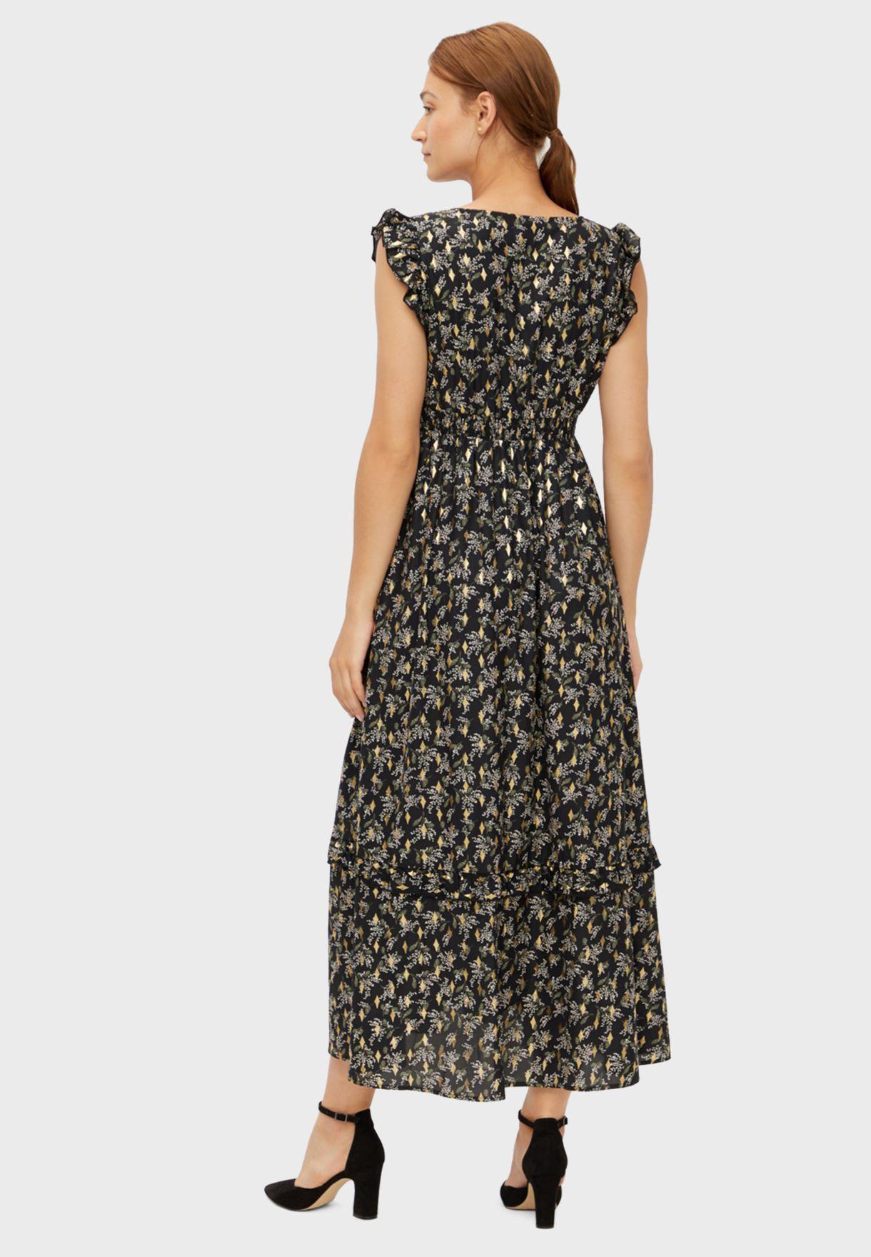 Printed Pleated Dress