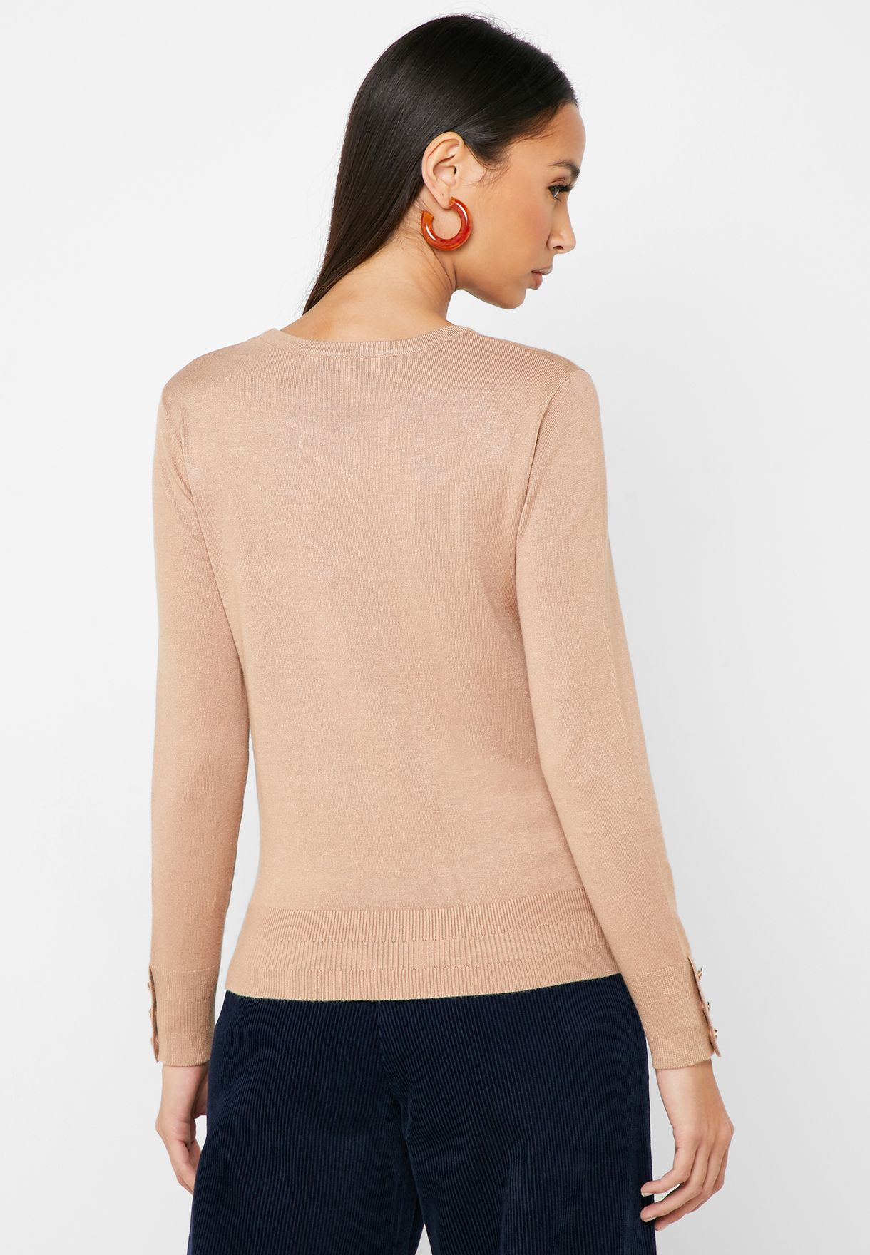 Button Cuffed Sweater
