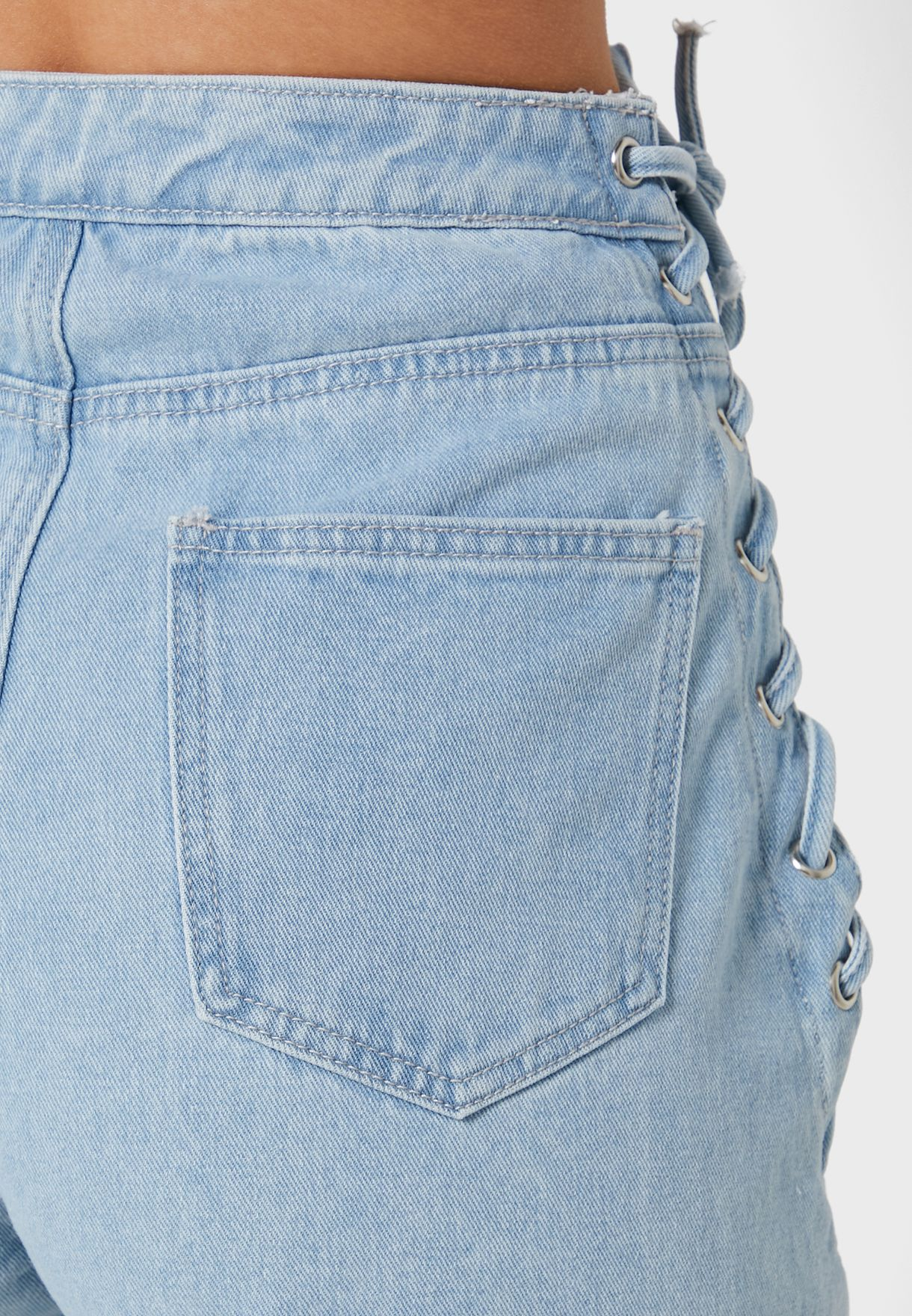 Lace Up Detail Straight Jeans