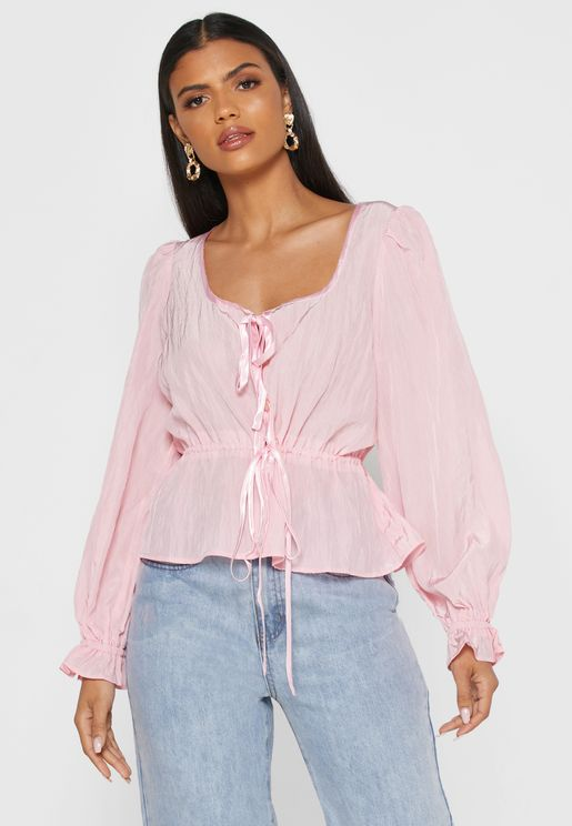 Open Back Puff Sleeves Top