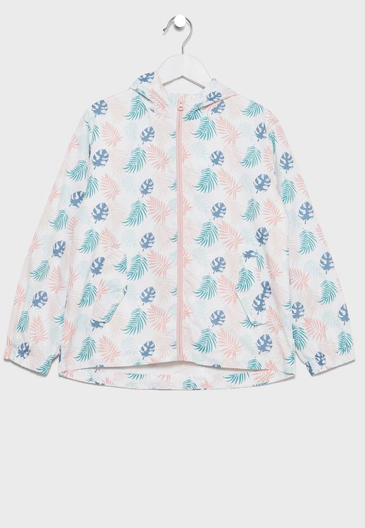Kids Leaf Print Hooded Jacket