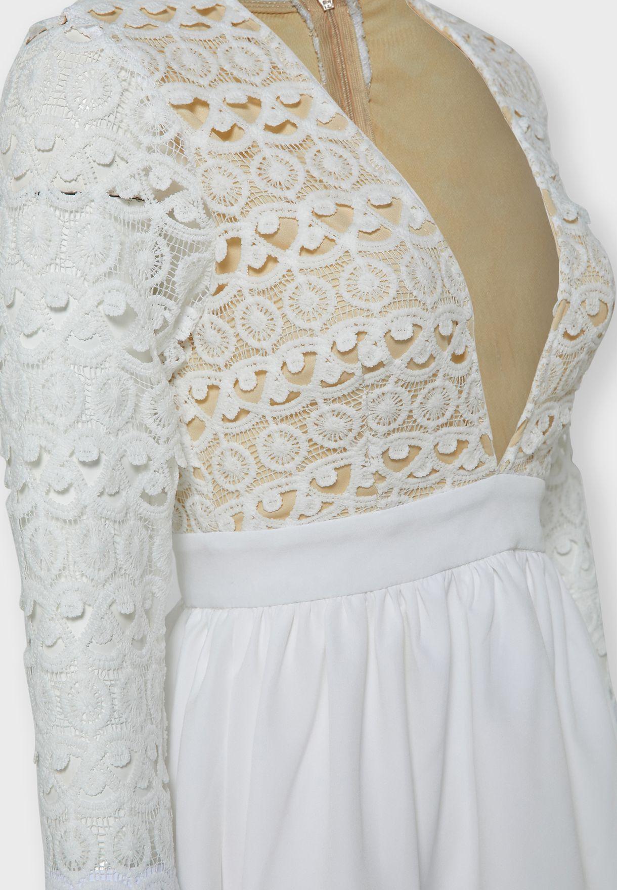 Lace Top Plunge Neck Mini Dress