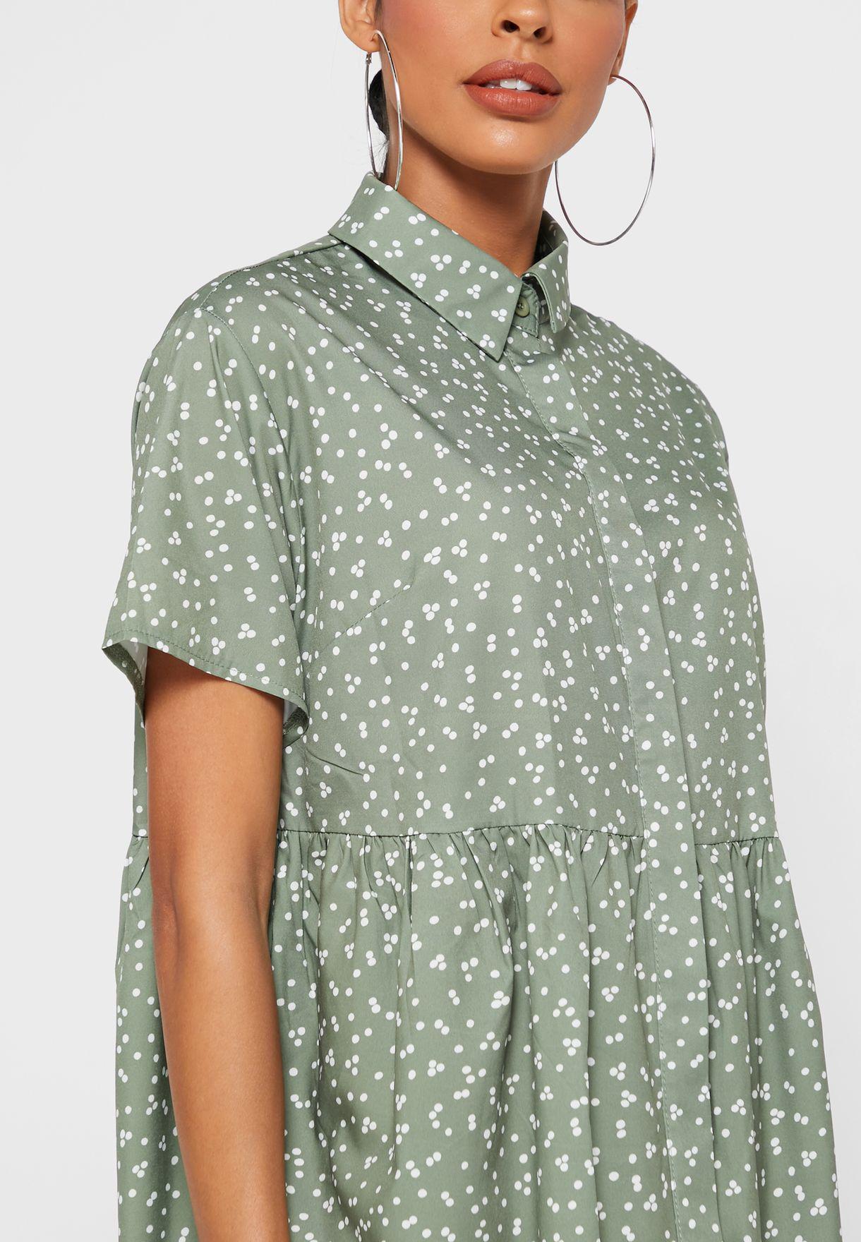 Button Detail Printed Mini Shirt Dress