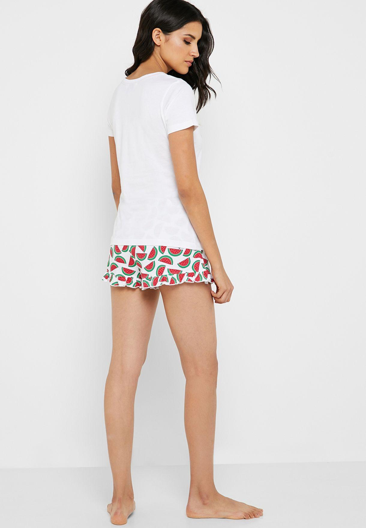 Watermelon Print T-Shirt & Shorts Set