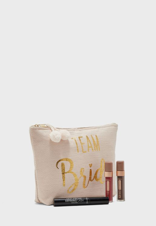 Team Bride Zip Detail Cosmetic Bag