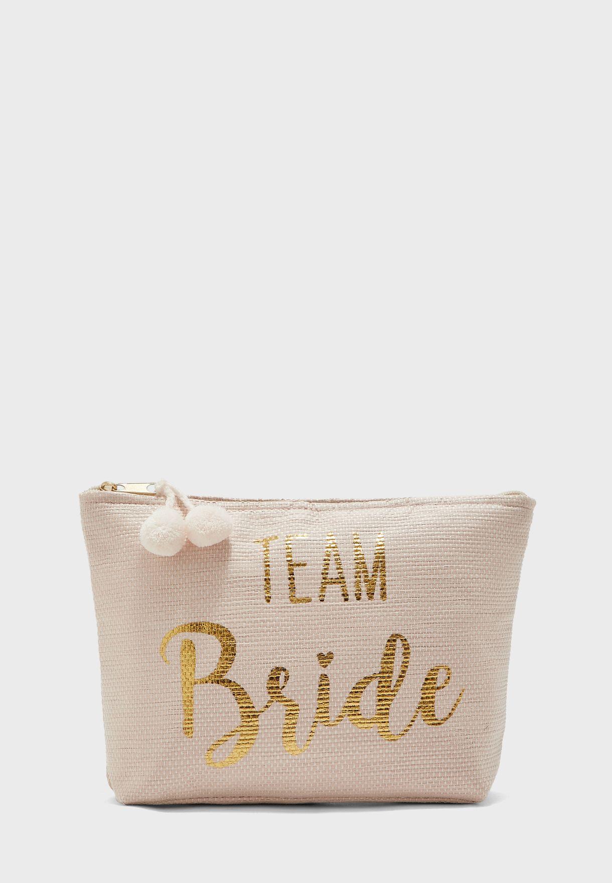 Team Bride Zip Detail Cosmetic Bag