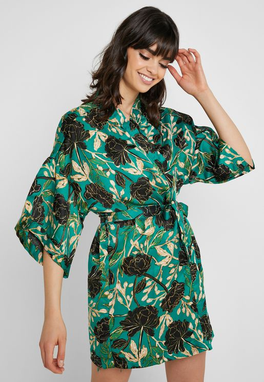 Floral Print Night Robe