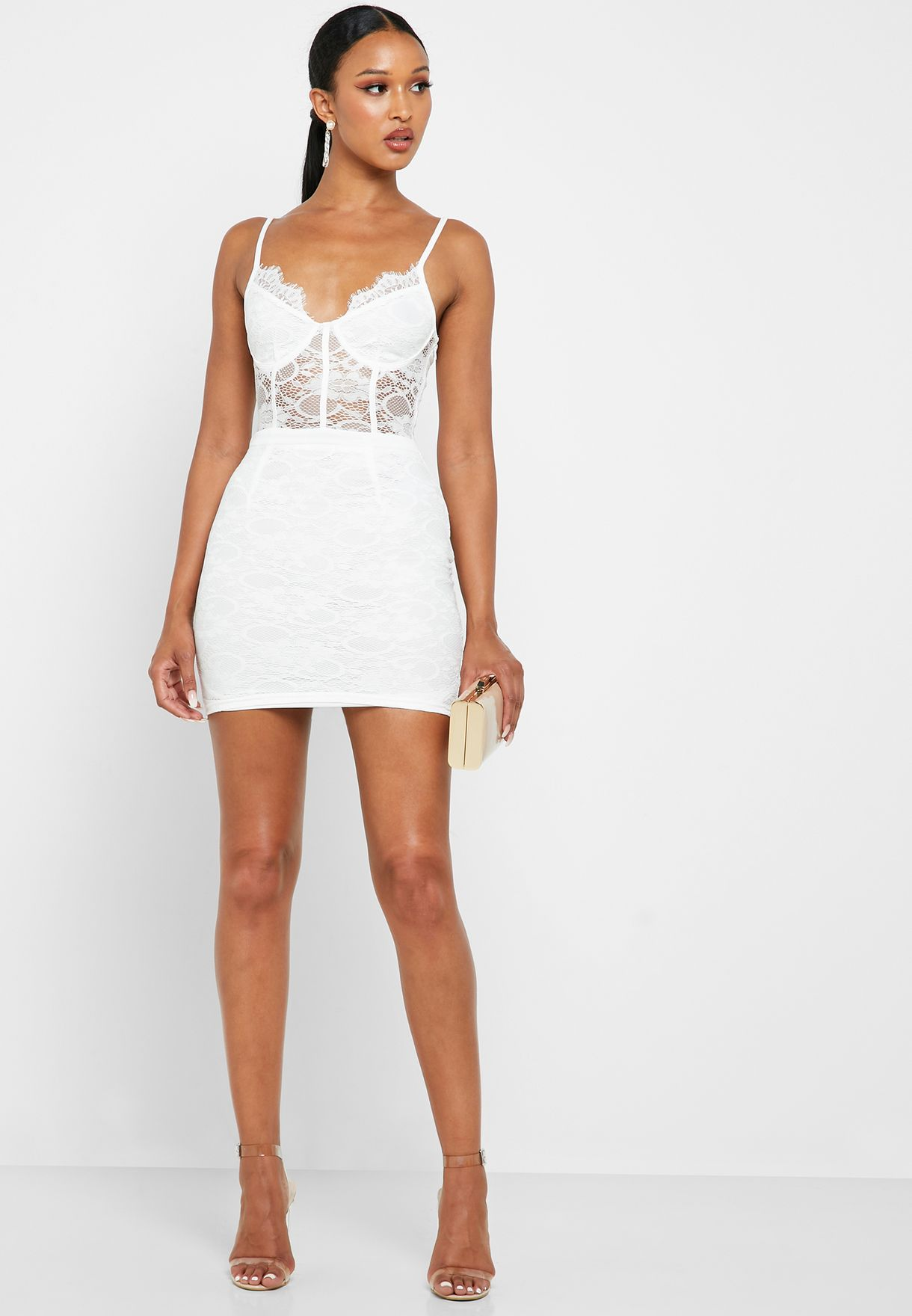 Lace Plunge Bodycon Dress