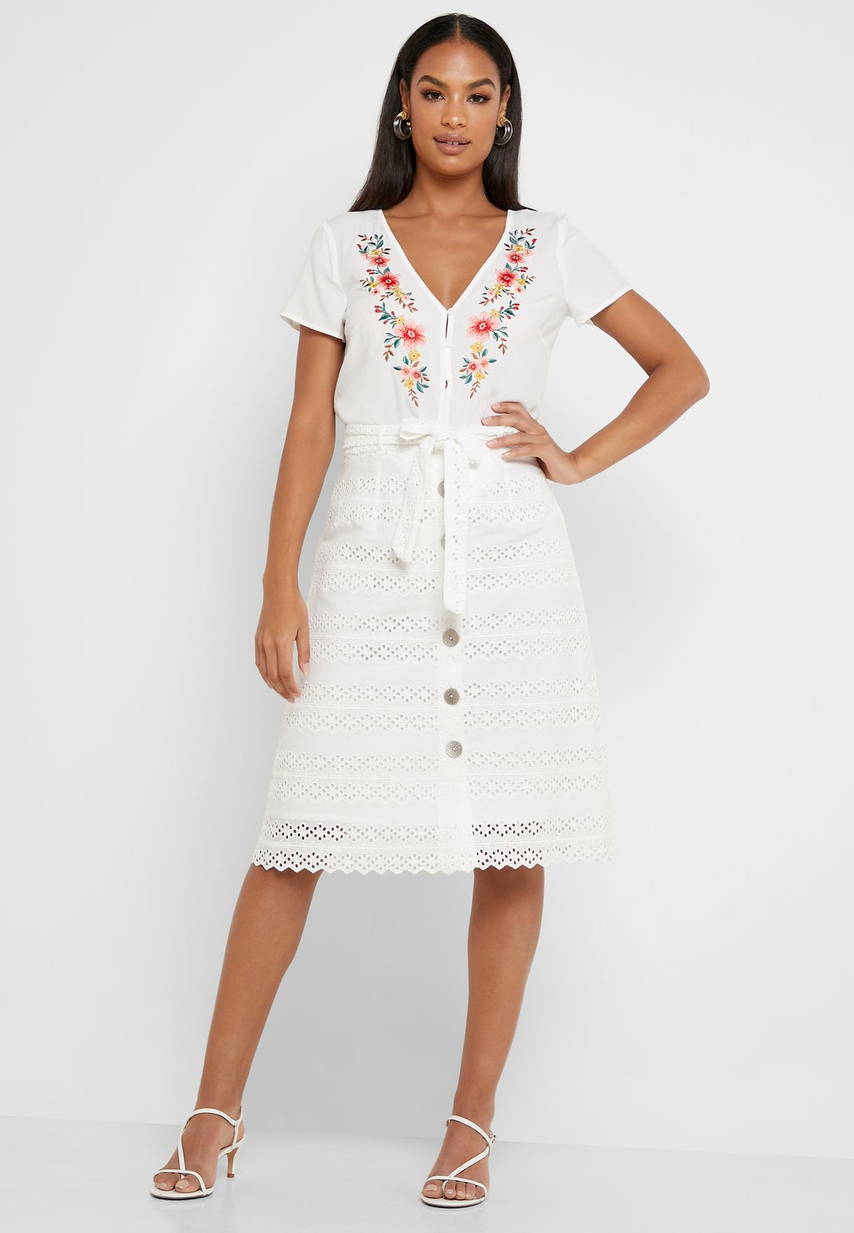 Belted Button Down Skirt