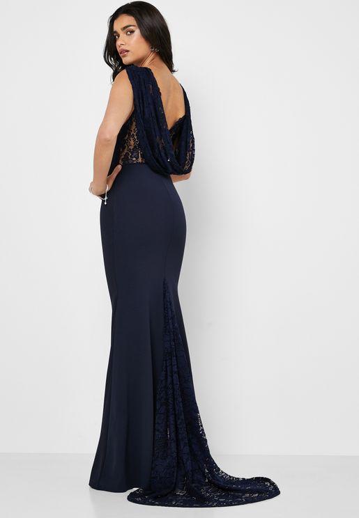 Cowl Back Lace Dress