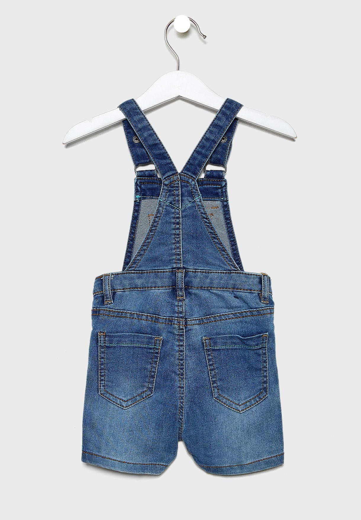 Infant Striped T-Shirt+Denim Dungaree Set