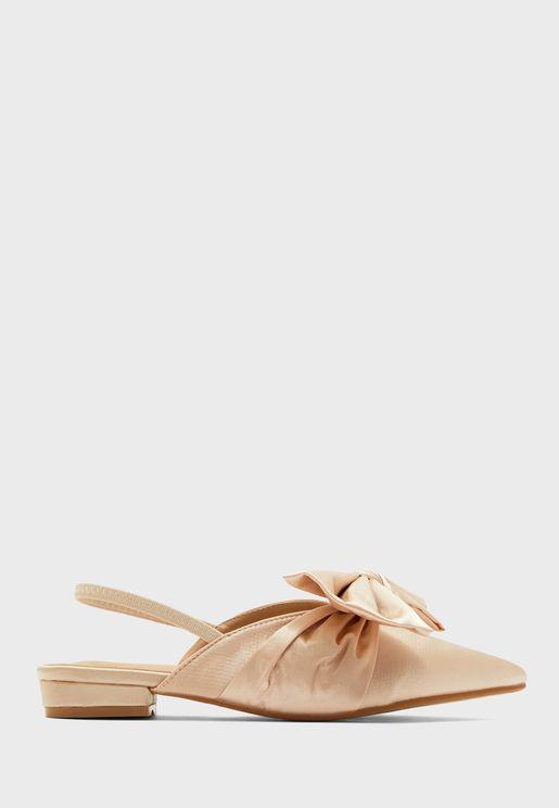 Satin Pointed Oversized Bow Slingback Shoe