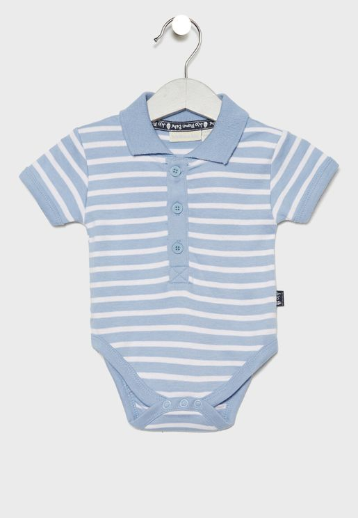 Infant Striped Polo Bodysuit