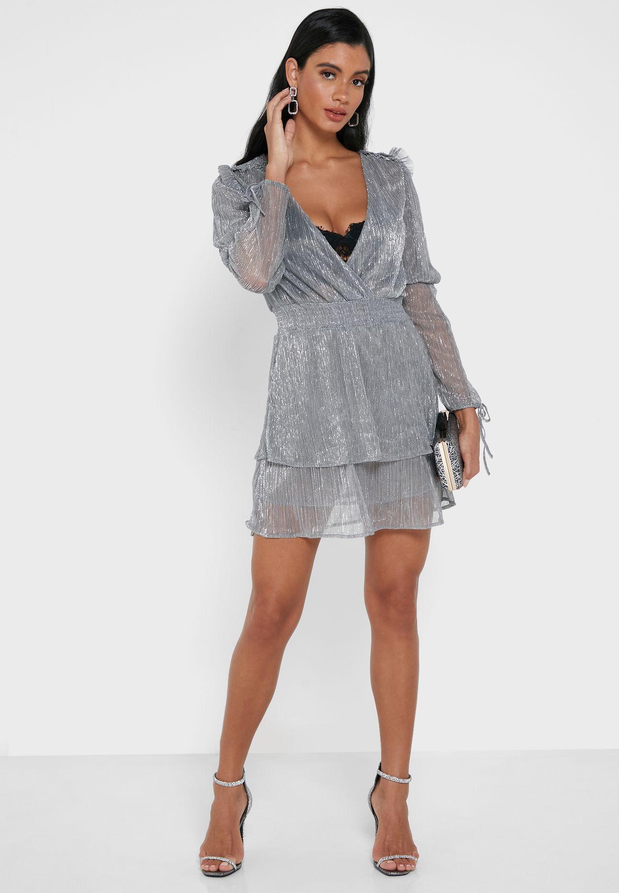 Shiny Wrap Front Tiered Mini Dress