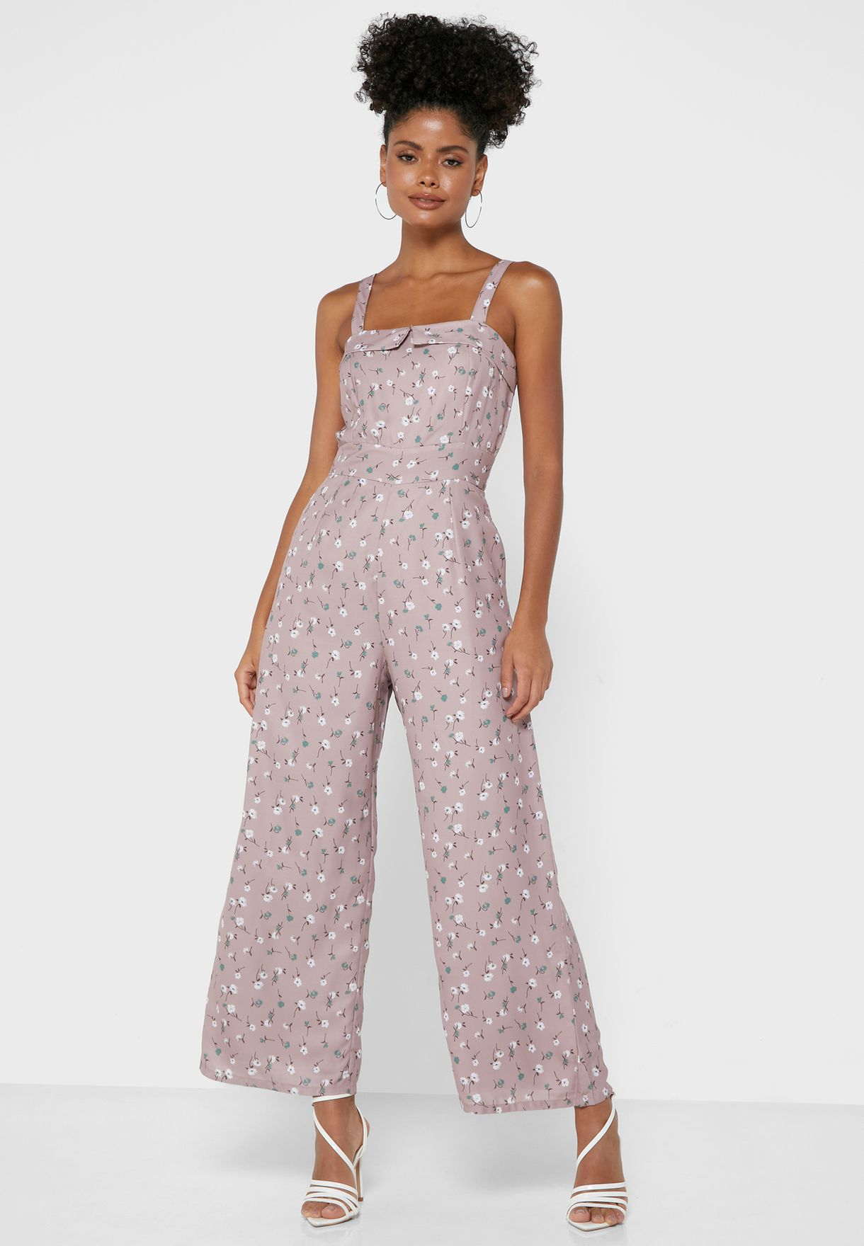 Pink Floral Strappy Jumpsuit